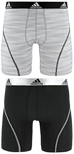 (adidas Men's Sport Performance Climalite Midway Underwear (2-Pack), White Ratio Black, Small)