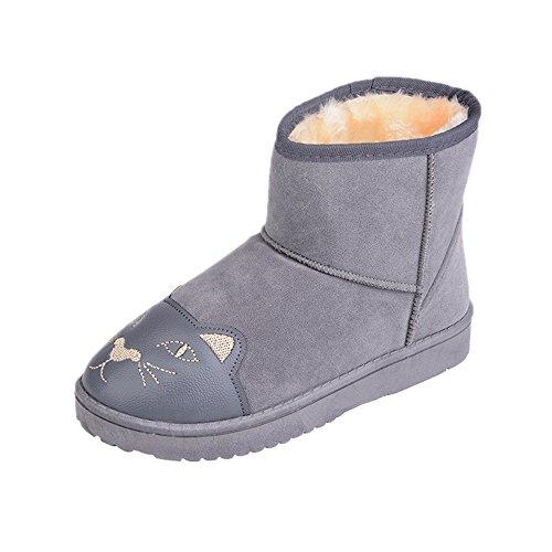 Dayiss® Damen Mädchen süße Halbschaft Stiefel Stiefeletten Winterschuhe gefüttert mit Katzekopf Grau