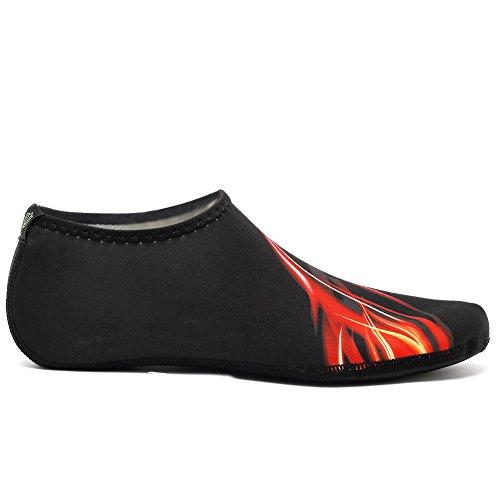 Cior 3ème Version Améliorée Durable Semelle Pieds Nus Eau Peau Chaussures Aqua Chaussettes Pour Plage Piscine Sable Nager Surf Yoga Eau Aérobic 04b.red