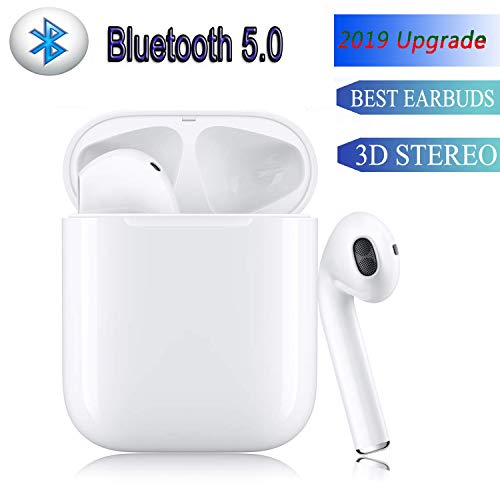 Bluetooth 5.0 TWSWireless Earbuds Pop-ups Auto Pairing3D Stereo Headphones in-Ear Built-in Mic Headset Premium Sound,24Hours Extended Playtime, for iPhone/Samsung/Apple/Airpods Bluetooth Headphones