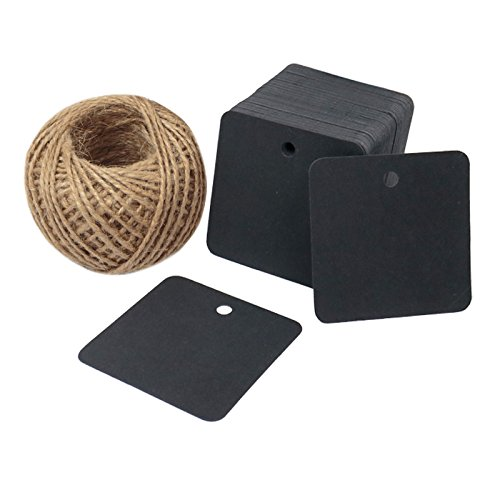 G2PLUS 100 PCS Square Hang Tags with String, Kraft Paper Blank Gift Tags with 100 Feet Natural Jute Twine (Black) ()