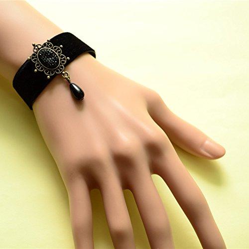 Price comparison product image Lvxuan Gothic Vampire Diaries Black Velvet Belt Lace Elegant Black Pearl Pendant Bracelet Jewelry Bracelet