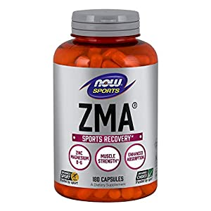 NOW Sports Nutrition, ZMA (Zinc, Magnesium and Vitamin B-6), Enhanced Absorption, Sports Recovery*, 90 Capsules