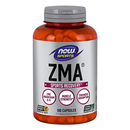 NOW Sports Nutrition, ZMA (Zinc, Magnesium and Vitamin B-6), 180 Capsules