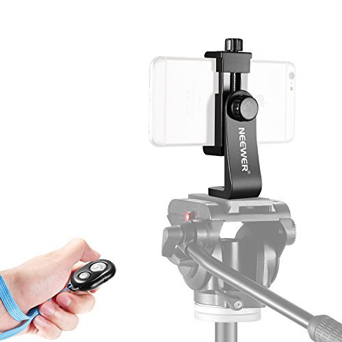 Neewer Smartphone Holder Vertical Bracket with Bluetooth Remote Control Shutter Release, Phone Clip Tripod Adapter for iPhone X 8 7 Plus 7 6 Plus Samsung and Other Phones within 4.3-5.5 inches Screen by Neewer
