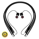 Bluetooth Headphones, DolTech Wireless Neckband Headset with Auto Retractable Earbuds, Sports Sweatproof Noise Cancelling Stereo Earphones with Mic (Black)
