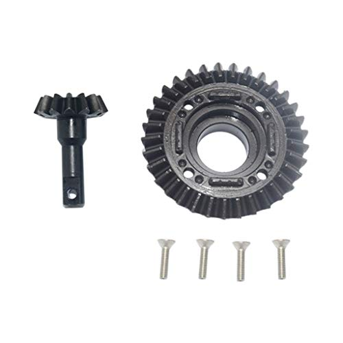 STARPROMISE Hard Steel Front Differential Ring Gear and Pinion Gear Set for 1/7 Traxxas UDR (Black)