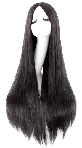 MapofBeauty 40 Inch/100cm Fashion Straight Long Costume Anime Wig (Black) -