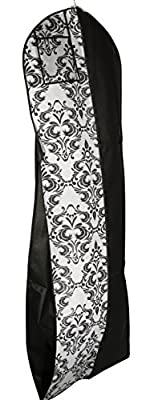 "Gusseted Gown Garment Bag for Women's Prom and Bridal Wedding Dresses - Travel Folding Loop, ID Window- 72"" x 24"" with 10"" Tapered Gusset - by Your Bags"