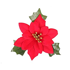 Shxstore 10 pcs 6 Inches Red Artificial Poinsettia Wedding Christmas Flowers for Crafts and Ornaments 1