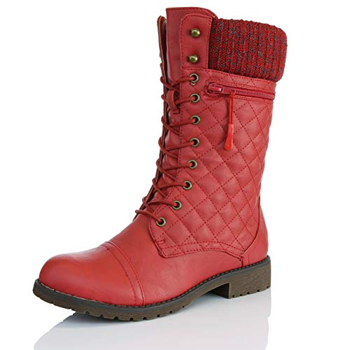 DailyShoes Women's Combat Style Lace up Ankle Bootie Quilted Military Knit Credit Card Knife Money Wallet Pocket Boots, Red Pu, 6