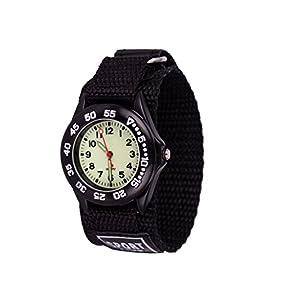 Wolfteeth Grade School Kids Boys Portable Army Military Wrist Watch Time Teacher, Nylon Velcro Strap 3042