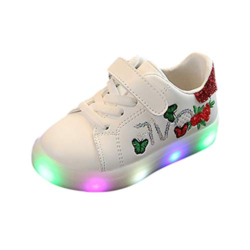 Sapienc Fashion Children Shoes Girls Boys Squeins Flower Butterfly Led Light Luminous Sport Shoes Red