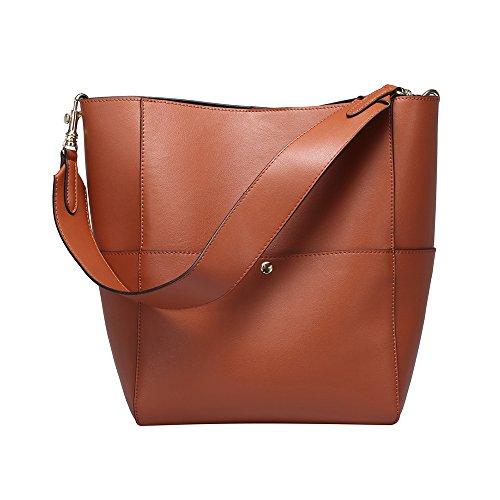 Women's Fashion Bucket Tote Shoulder Bag Vintage Leather Handbag Purse Bucket Tote Shoulder Bag Handbag Purse Cowhide Genuine Leather Purse,Brown