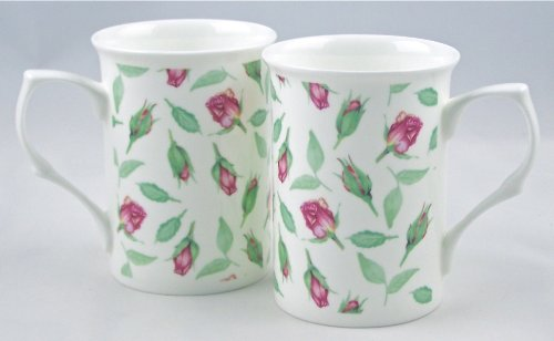 Pair Fine Bone China Mugs - Rosebud Chintz By Royal Victorian - England