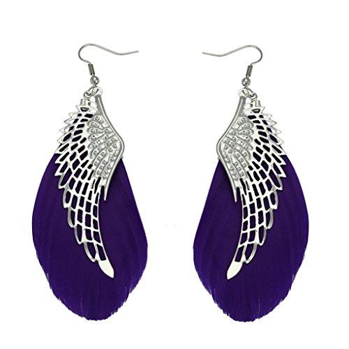 Women Earrings Liraly Angel Metal Wing Bohemian Handmade Vintage Feather Long Drop Earrings ()