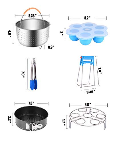 Large Product Image of Fopurs 12-piece Accessories Set Compatible with Instant Pot 6,8 QT, with Steamer Basket, Egg Rack, Springform Pan, Egg Bites Mold, 4 Cheat Sheet Magnets, Oven Mitts and More