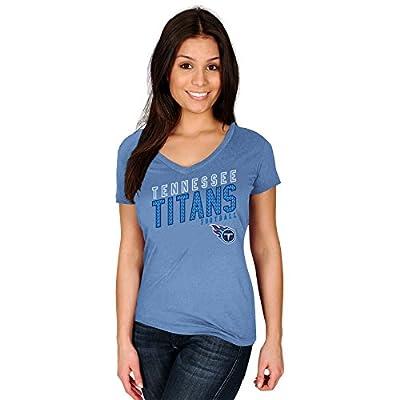 NFL Tennessee Titans Adult Women NFL Plustitans S/Cotton V Neck Te,1X,Coastal Blue