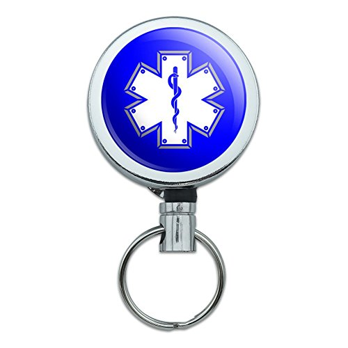 (Star of Life Medical Health EMT RN MD Heavy Duty Metal Retractable Reel ID Badge Key Card Tag Holder with Belt Clip)