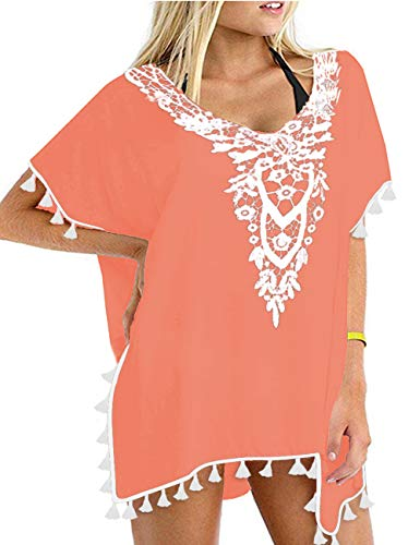 - CPOKRTWSO Womens V Neck 3/4 Sleeves A-line Casual Tshirt Dress Swimsuit Bikini Cover Up Coral Orange L/XL