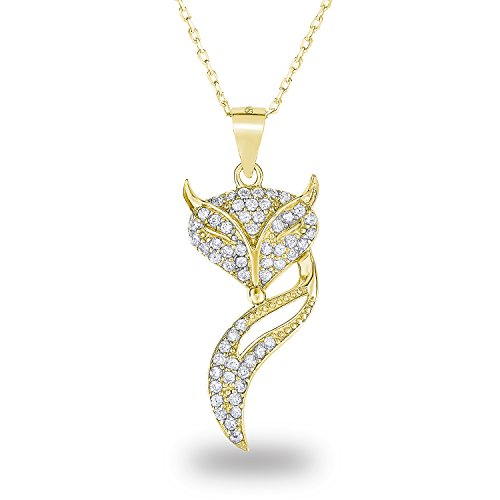 14k Yellow Gold Plated Sterling Silver Cubic Zirconia Pave Fox Novelty Pendant Necklace, (Fox Yellow Pendant)