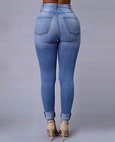 Clair Haute Pantalons Taille Bleu Dcontracte Jeans Femmes Skinny Dooxi lgant Denim Stretch Crayon Dchir BqfOC