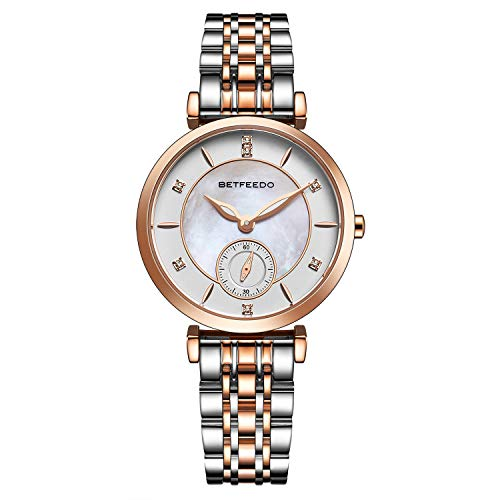 Betfeedo Women's Pearl Shell Dial Watch with Stainless Steel Strap ()