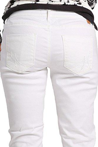 Miss Halladay Womens White Stretch Denim Boyfriend Jeans 5 Pocket Ankle Length