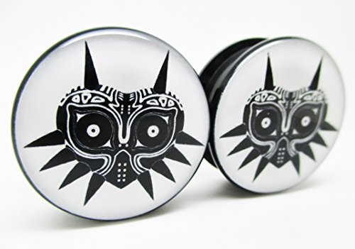 Zelda-Majoras-Mask-Ear-Plugs-Acrylic-Screw-on-NEW-Pair-10-Sizes