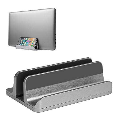 JARLINK (Upgraded Version) Vertical Laptop Stand, Desktop Stand Adjustable Laptop Holder (up to 17.3 inches) Compatible with MacBook Pro/Air, Microsoft Surface, Lenovo (Gray) ()