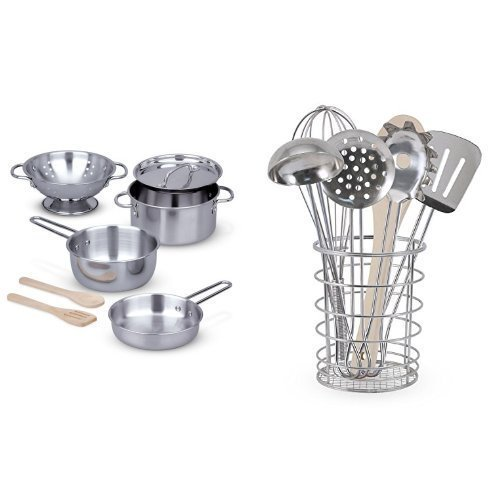 Melissa & Doug Stainless Steel Pots and Pans Pretend Play Kitchen Set for Kids (8 pcs) With Melissa & Doug Stir and Serve Cooking Utensils (7 pcs) - Stainless Steel and Wood