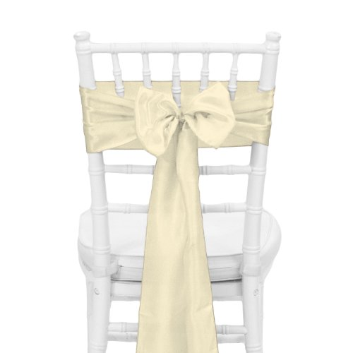 Koyal Wholesale 10-Pack Satin Chair Sash, 6 by 108-Inch, Ivory