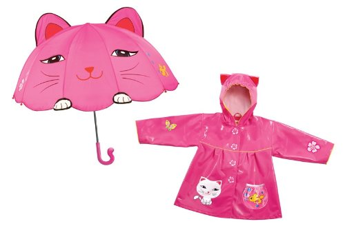 Kidorable Cat Raincoat & Cat Umbrella Set (3T)