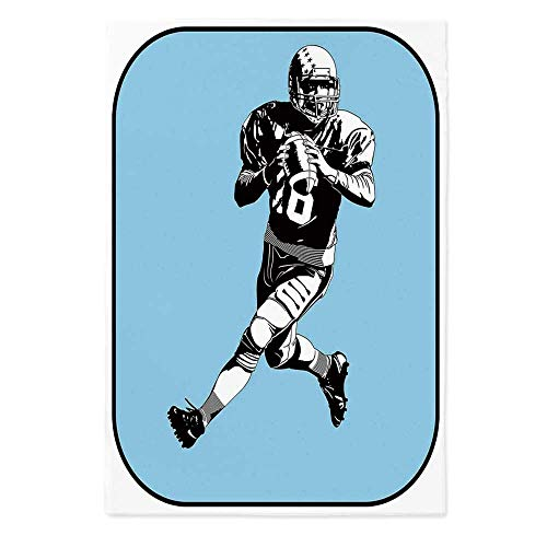 Sports Dust Proof Tablecloth,American Football League Game Rugby Player Run Original Retro Illustration for Kitchen Dinning Tabletop Decoration,60''W X 90''L