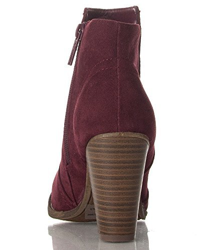 Breckelles Damen HEATHER-34 Faux Wildleder Chunky Heel Ankle Booties Neuer Wein