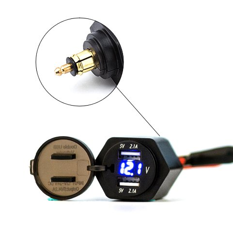 Eriding 2 USB Charger 4.2A Adapter Blue LED Voltmeter with Powerlet Din Plug for Motorcycle