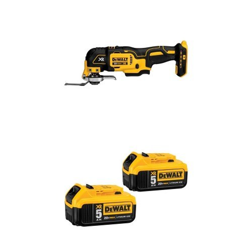 DEWALT DCS355B 20V XR Oscillating Multi-Tool and 20V MAX XR 5.0Ah Lithium Ion Battery, 2-Pack