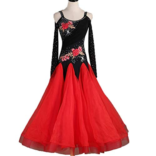 High-end Modern Dance Embroidery Dress Rhinestone Long Sleeve Waltz Ballroom Dance Competition Costume (Color : Red, Size : XXL) - Hand Embroidery Belly Dance Costume