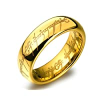 Yellow Chimes Lord of The Rings 100% Stainless Steel 18K Gold Plated Ring for Boys and Men