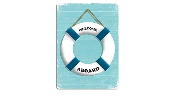 Welcome Aboard Blue Metal Wall Sign Plaque Art Kitsch Inspirational Nautical