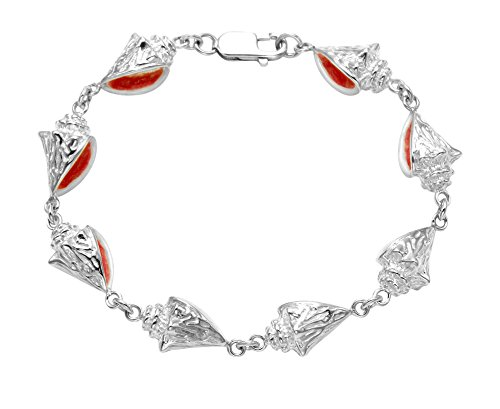 Wild Things Sterling Silver Conch Shell Design Bracelet w/Enamel Accents