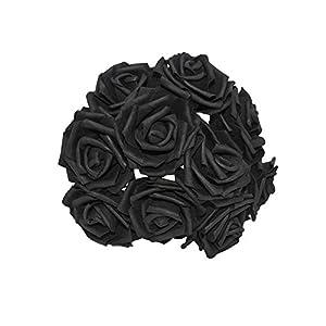 25 Heads 8CM Colorful Artificial Foam Rose Flowers Bride Bouquet Home Wedding Decor Scrapbooking DIY Supplies,Black 73