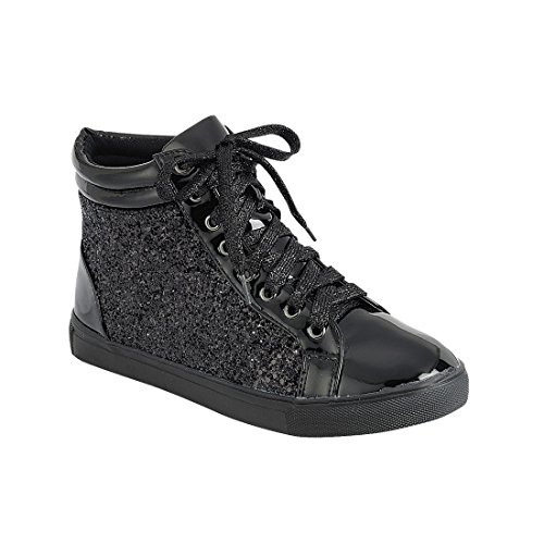 Forever Link Women Fashion Light Weight Glitter Metallic Leatherette Quilted Lace Up Shoe Lace Up Low Top Stylish Sneaker (8.5, Black Sparkle-25)