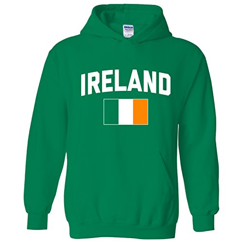 UGP Campus Apparel Ireland Flag Arch World Soccer Cup Irish Pride Hoodie - Small - Irish Green