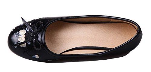 Amoonyfashion Femmes Bout Rond À Bout Rond Talons Bas Pu Chaussures Brodées-chaussures Noir