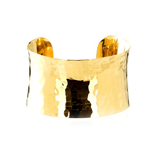 MGD, 38 MM Wide Hammered Cuff Bracelet, Gold Tone Brass, Metal Bracelets, Adjustable Bangle One Size Fit All, Fashion Jewelry for Women, Teens and Girls, JE-0158B by Mary Grace Design