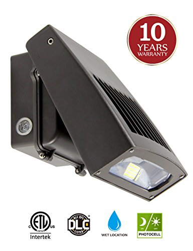LED Wall Pack 30W Waterproof Security Lighting Fixture Photocell Auto on/off 5000K 3300lm 150-250W HPS/HID Replacement, 0-90°Adjustable Head, 10-year Warranty for Outdoor by Kadision