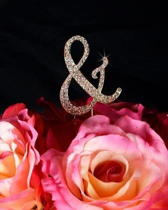 Unik Occasions Sparkling Collection Crystal Rhinestone Monogram Cake Topper - Ampersand, Small, Gold