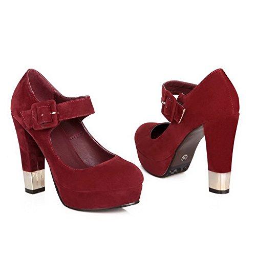 Piattaforma Unita Punta Voguezone009 Pump Smerigliato Females Chiusa Tacchi Pu Rosso Tinta Solid Alti Jane Mary Shoes wSfwHYqx