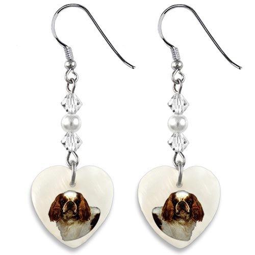 Cavaliers Heart Watch (Timest Cavalier King Charles Spaniel Mother Of Pearl Heart Earrings)